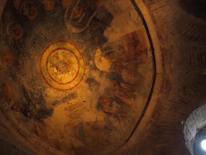 Древние фрески на потолке. церковь Святого Николая, Демре, Турция, осень 2013
