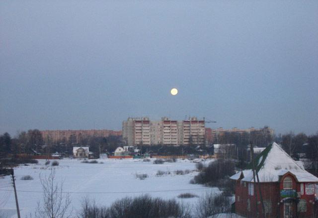 Луна и утро Нахабино, зима 2007